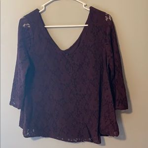 American Eagle Lace Burgundy Top